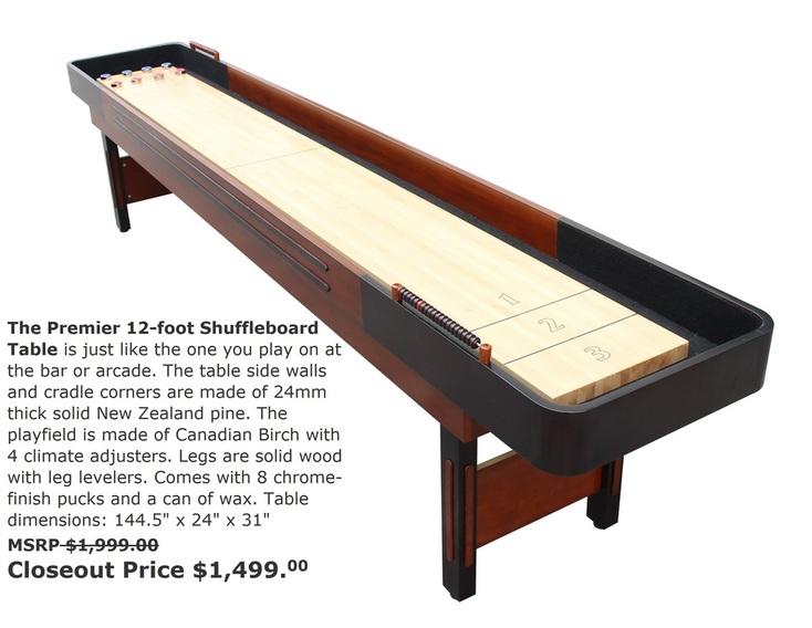 Gameroom Envy Shuffleboard And Ping Pong Gameroom Envy - 12 foot shuffleboard table for sale